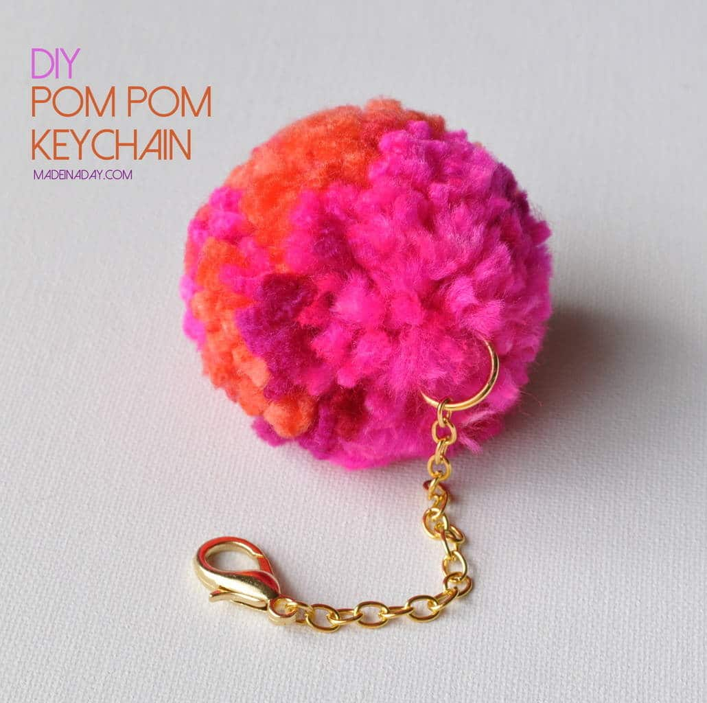 diy pom pom keychain. Black Bedroom Furniture Sets. Home Design Ideas