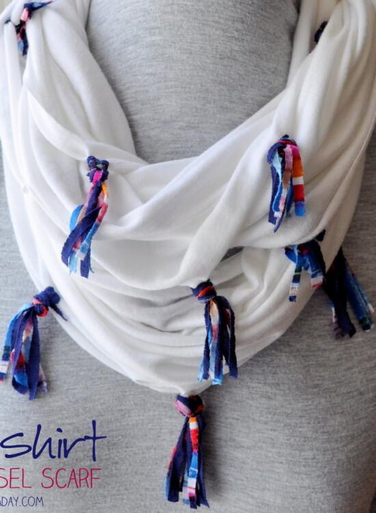 DIY Jersey Knit Tassel Scarf 2