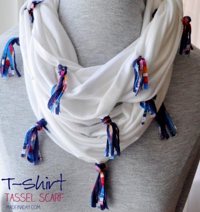 DIY T-shirt Tassel Scarf madeinaday.com