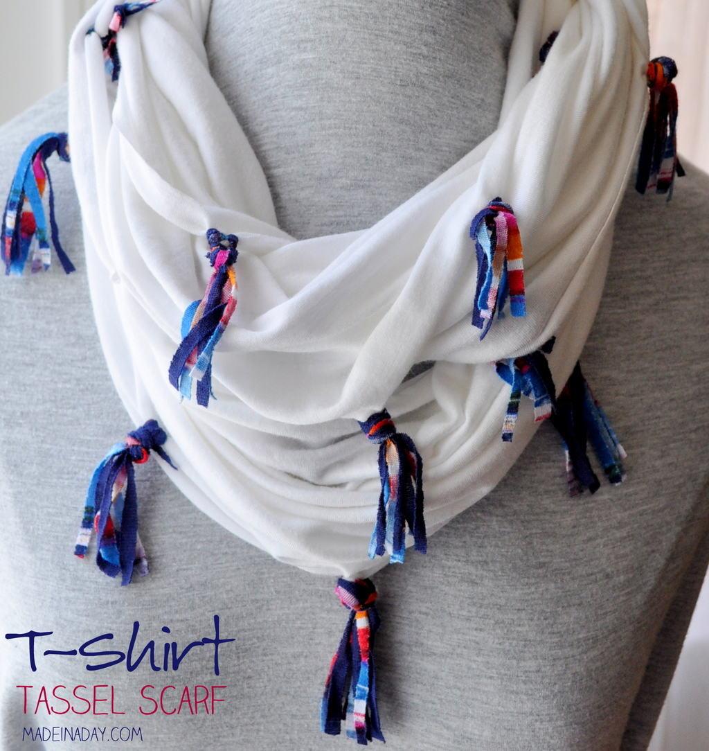 DIY Jersey Knit Tassel Scarf