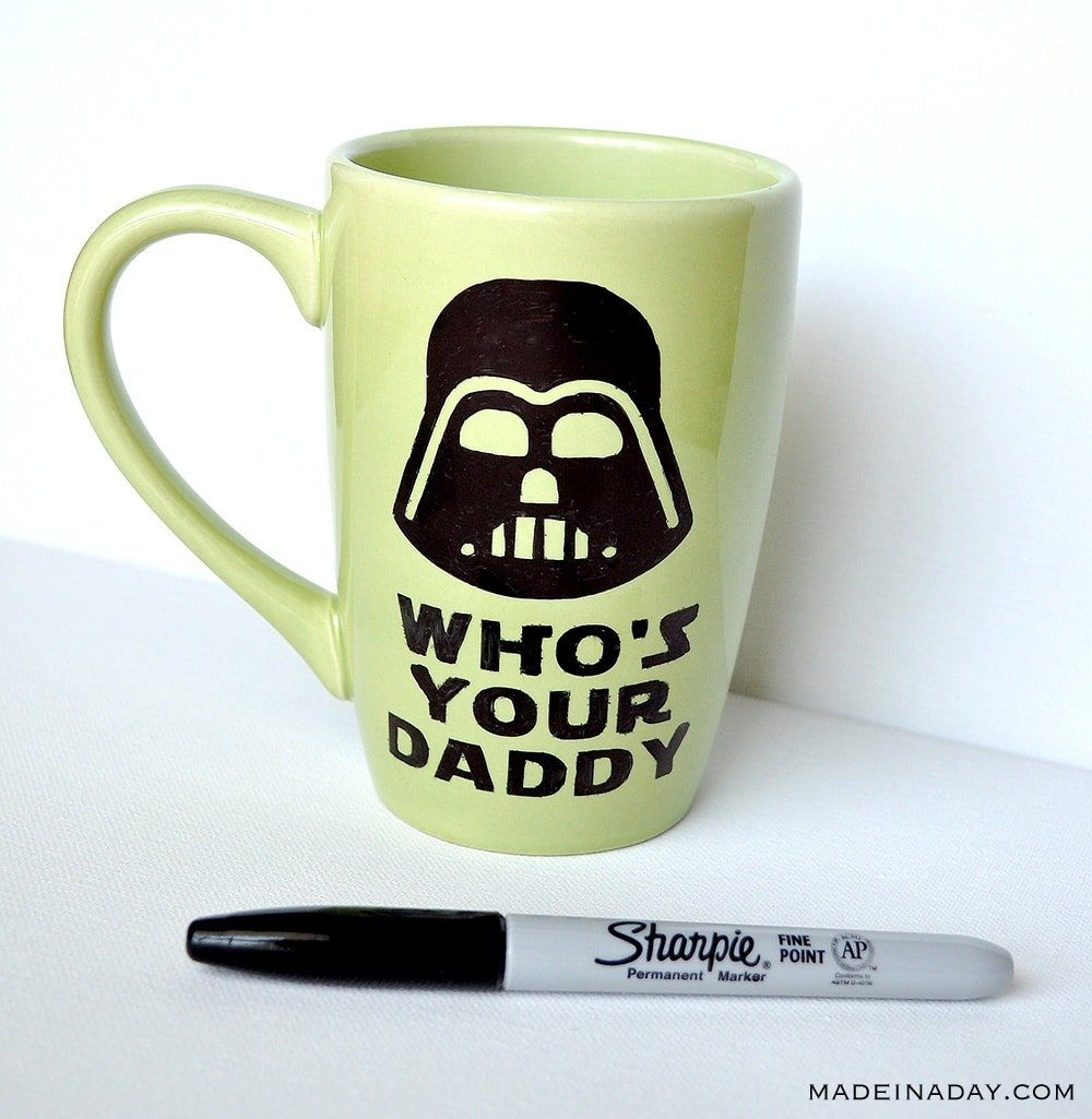 Darth Vader Sharpie Mug tutorial, Who's Your Daddy