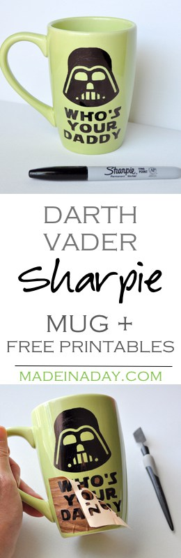 Make your own Darth Vader Sharpie mug and then grab 2 free printables for your home or office decor! Silhouette Cameo Craft, Father's Day mug, Star Wars printables