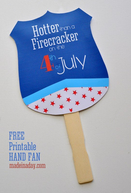 Free Pritnable 4th of July Hand Fan madeinaday.com