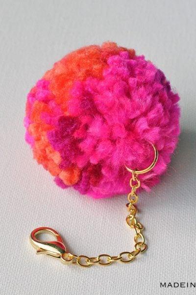 DIY Pom Pom Keychain Bag Charm