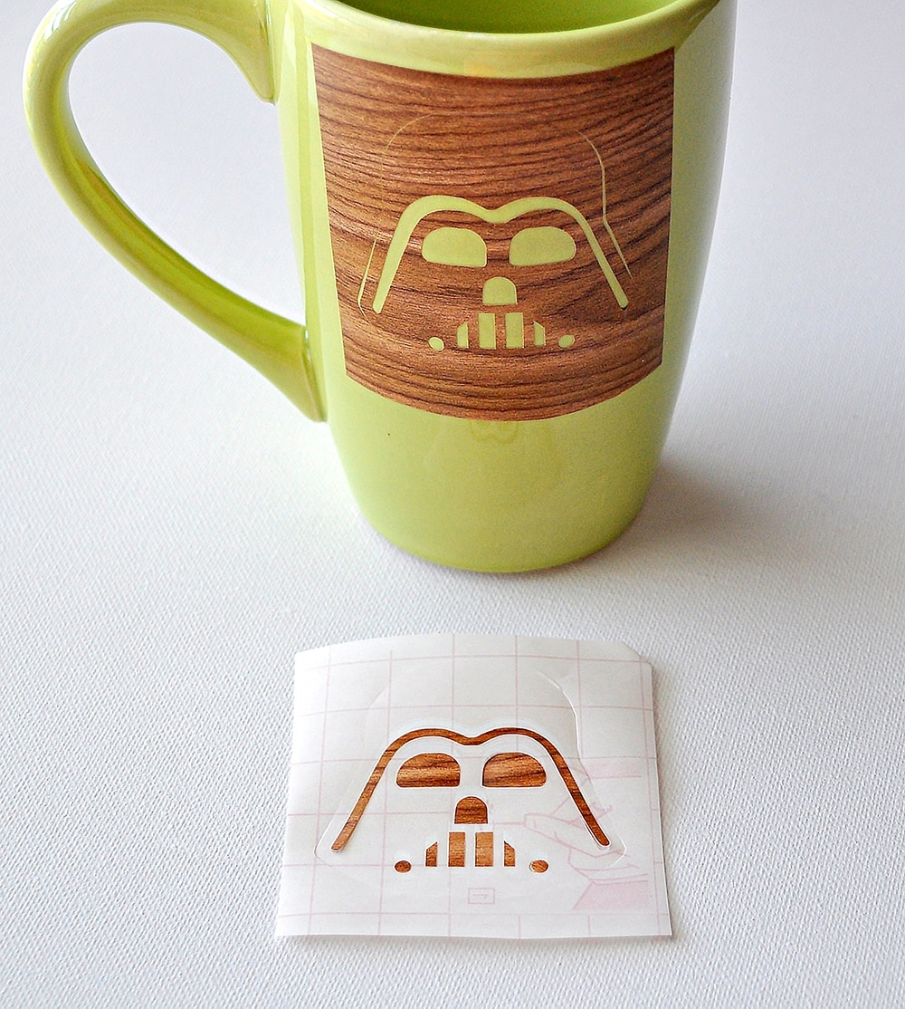 Darth Vader mug with a stencil