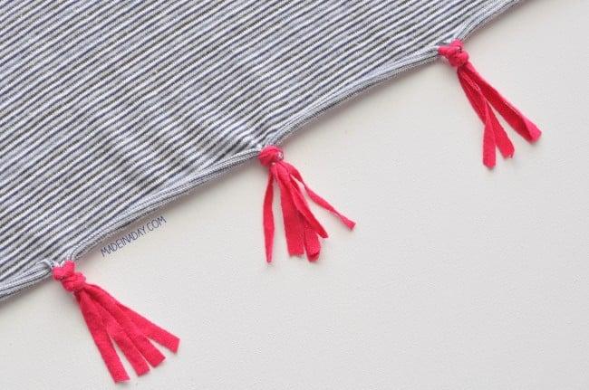 Jersey knit tassel