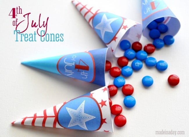 July 4th Printable Treat Cones madeinaday.com