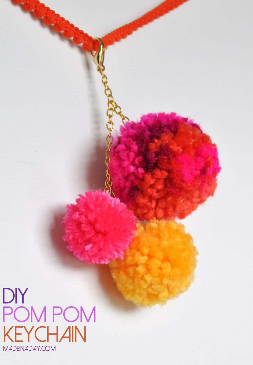 Pom Pom Keychain bag charm tutorial madeinaday.com
