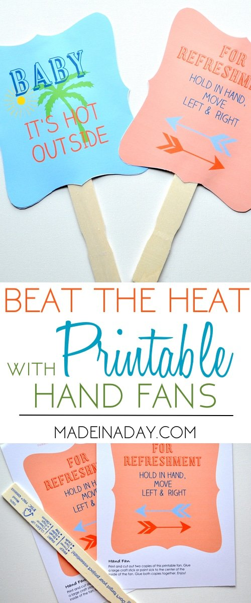 printable hand fan, paper fan, DIY fan