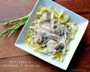 Rotisserie Chicken & Mushroom Gravy over Noodles madeinaday.com