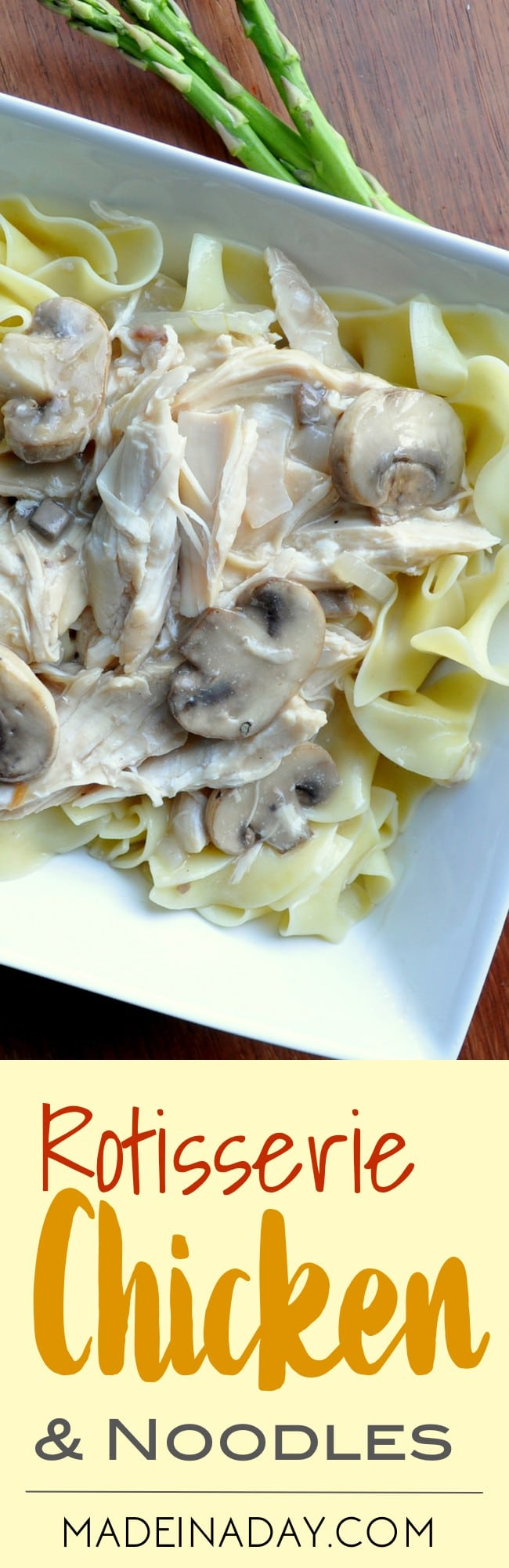 Rotisserie Chicken and Noodles Recipe, Super easy and delicious meal for busy weeknights. Simmer and serve! Rotisserie Chicken meal, egg noodles and mushroom gravy