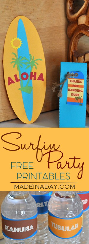 Surf Party FREE Printables Set #2!  Extra additions to my original Surf Party set, FREE Printable Gift card, Party favor tags, water bottle labels.  See original set for cupcake toppers and framable art. All on madeinaday.com