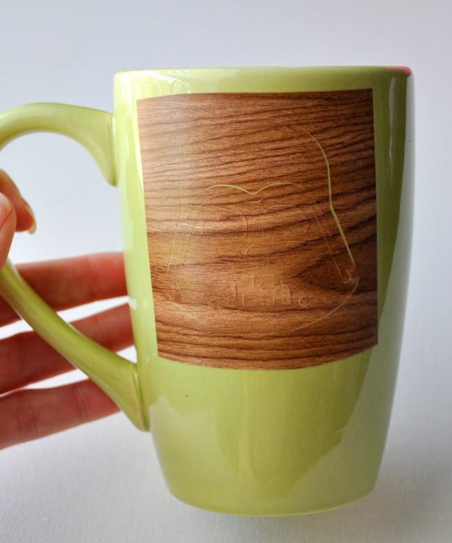 add stencil to mug before sharpie