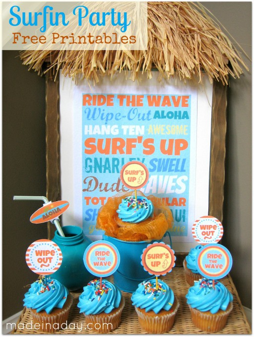 surfing party printables