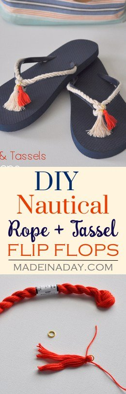 DIY Rope + Tassel Nautical Flip Flops, Easily decorate plain flip flops with rope and tassels to create a trendy tassel look! See the tutorial on madeinaday.com