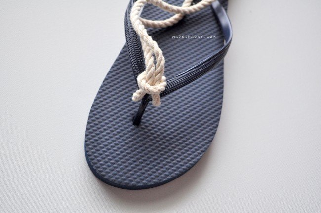 Glue rope to a flip flop madeinaday.com