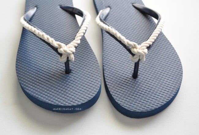 Nautical Knot Rope Flip Flops DIY madeinaday.com