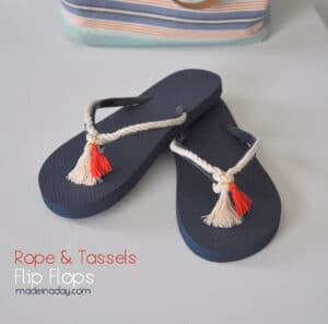 Nautical Rope and Tassel Flip Flop Tutorial madeinaday.com