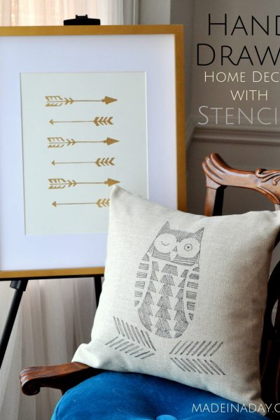 Hand Drawn Owl Pillow Arrow Wall Art
