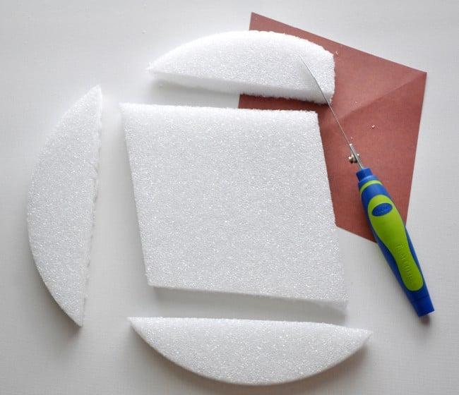 Cut triangles out of foam disc