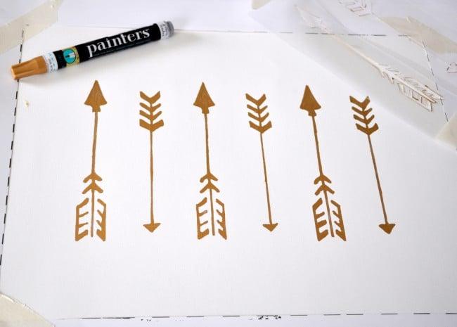 DIY Arrow Paint Pen Wall Art using Stencils madeinaday.com