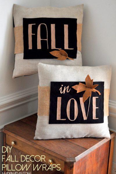 DIY Fall Decor Pillow Wrap