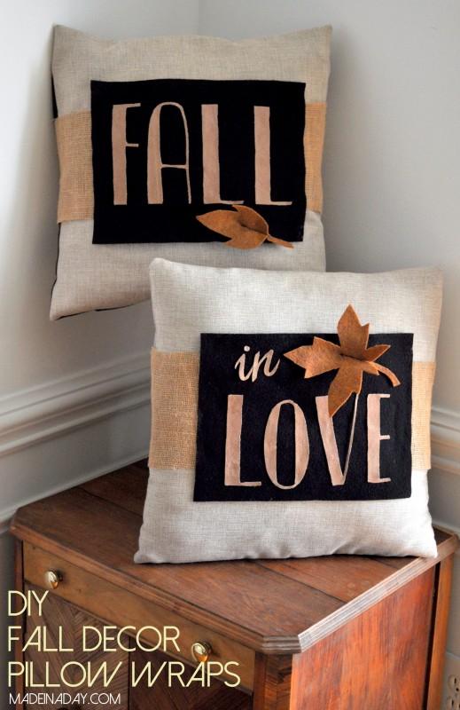 DIY Fall Decor Pillow Wrap madeinaday.com