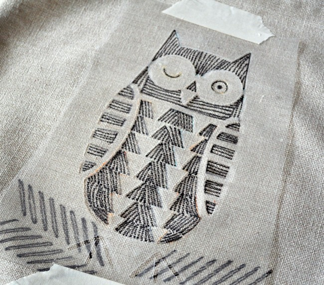 DIY Hand Drawn Pillow Cover w: stencils & fabric pens madeinaday.com
