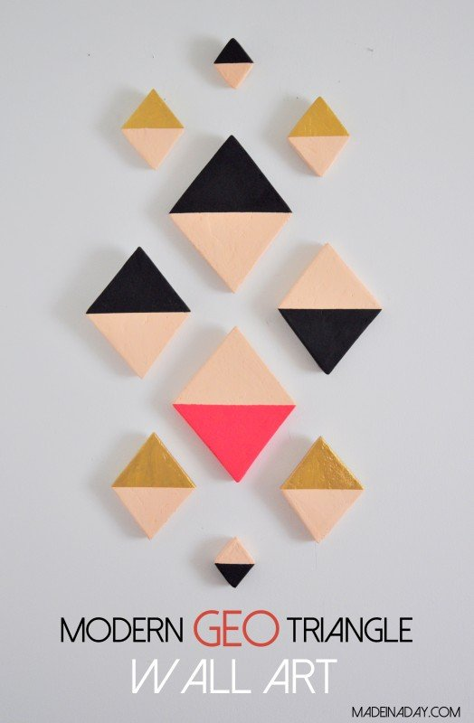 DIY Modern GEO Triangle Wall Art madeinaday.com