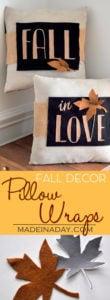 Detailed DIY Fall Decor Pillow Wrap 1