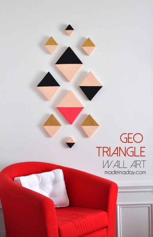 Geometric Triangle Wall Art tutorial madeinaday.com