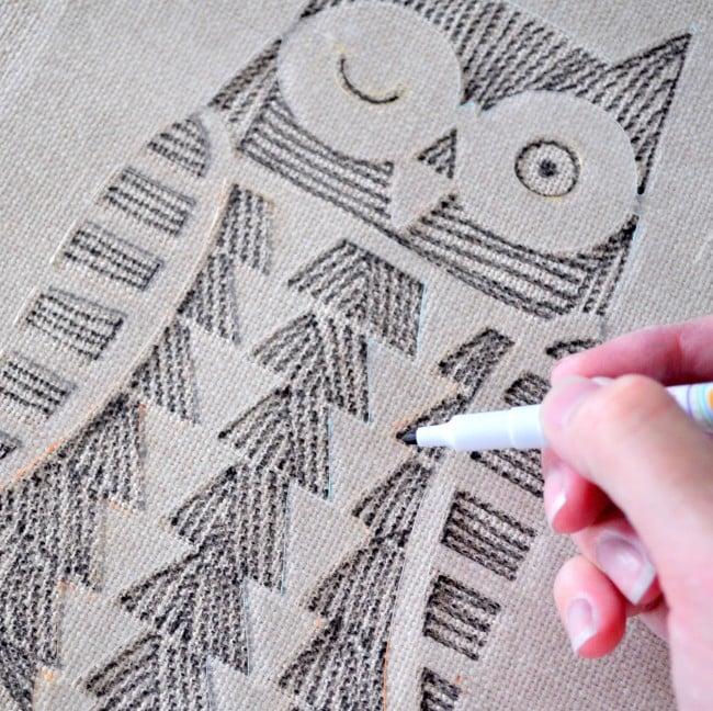 Hand Draw on fabric w: a stencil madeinaday.com
