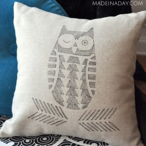 Hand Drawn Pillow Cover Fabric Pens Cutting Edge Stencils madeinaday.com