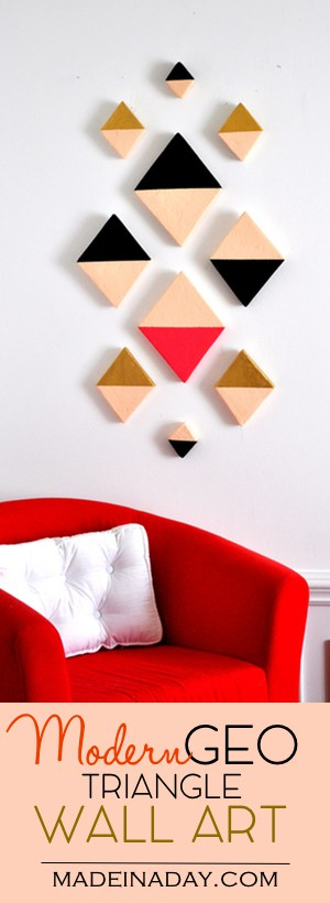 Modern Triangle Geo Wall Art, Sleek modern wall art made from foam and acrylic paint! #sponsored tutorial on madeinaday.com