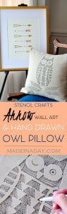 Hand Drawn Owl Pillow Arrow Wall Art 1
