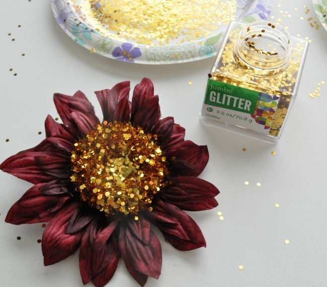 Add glitter to silk flowers madeinaday.com