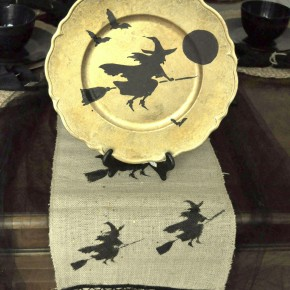 Flying Broom Witch Table Runner Plate Charger
