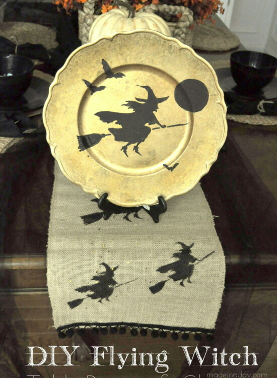 Flying Broom Witch Table Runner Plate Charger 7