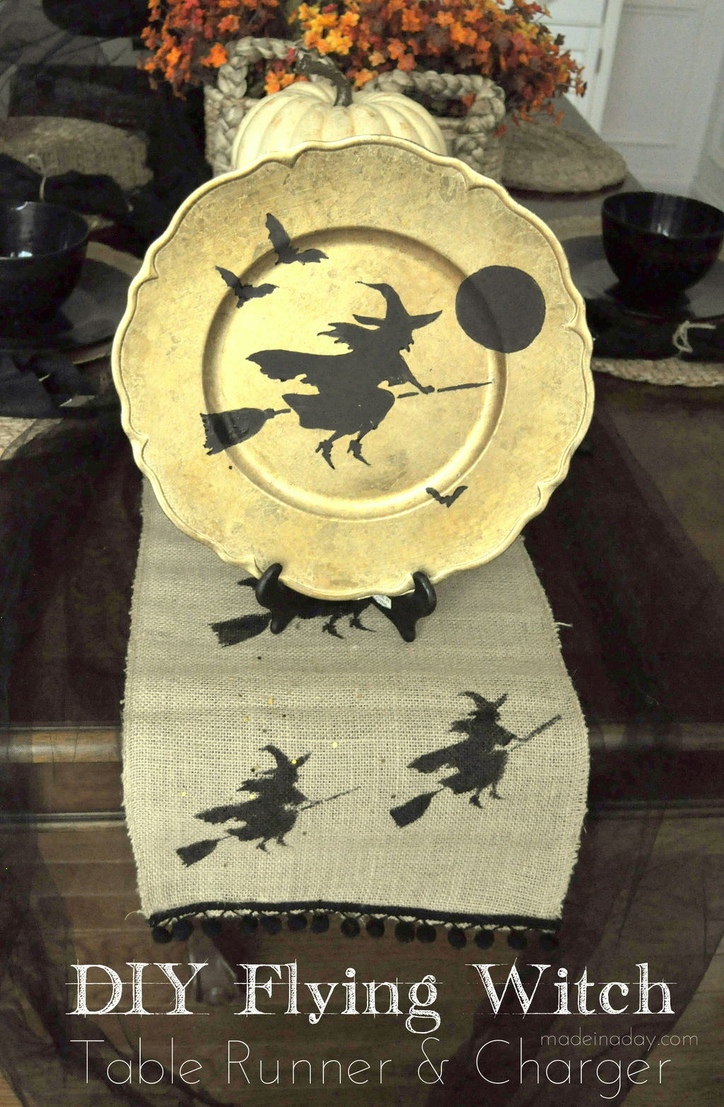 Broomstick Flying Witch Plate Charger & Runner Tutorial on madeinaday.com