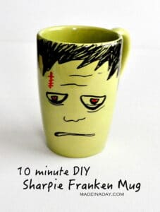 DIY Frankenstein Sharpie Mug madeinaday.com