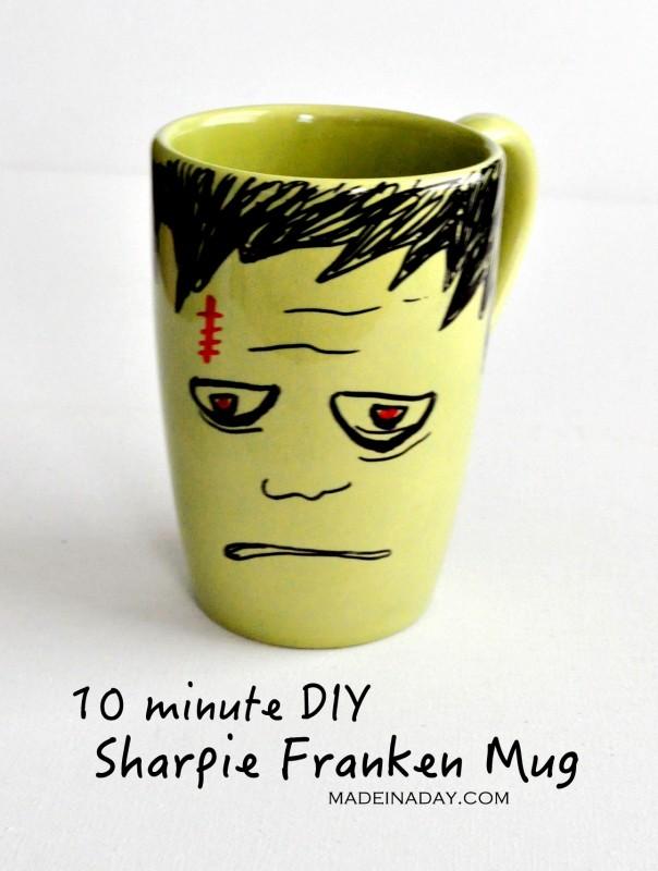 DIY Frankenstein Sharpie Mug madeinaday.com