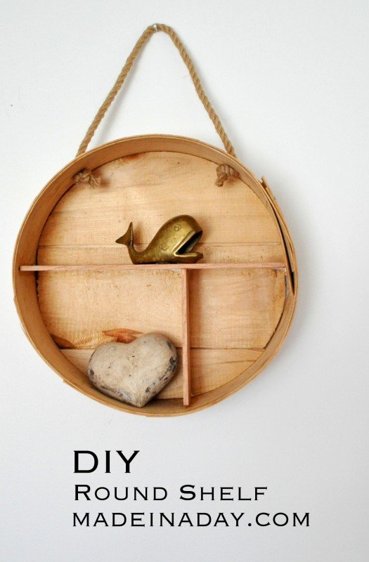 DIY Round Shelf from a Cheese Box Tutorial on madeinaday.com