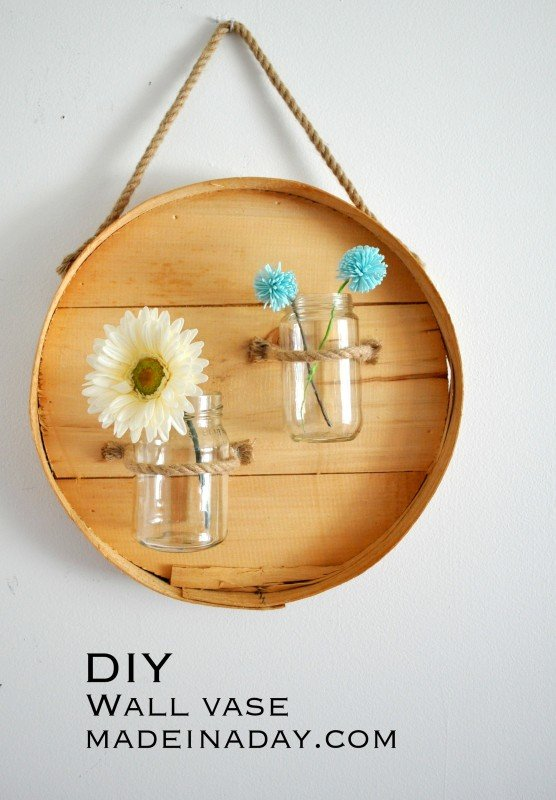 DIY Round Wall Vase with Jars madeinaday.com