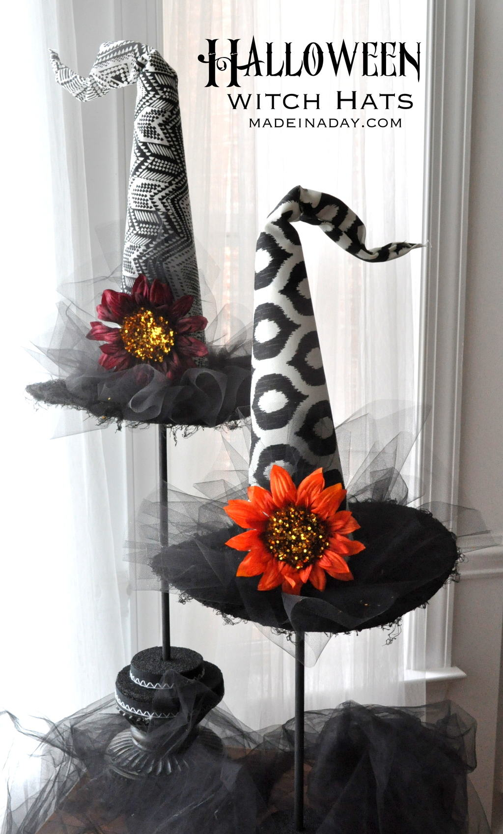 decorative witch hat halloween black white party props madeinadaycom - Halloween Witch Decoration