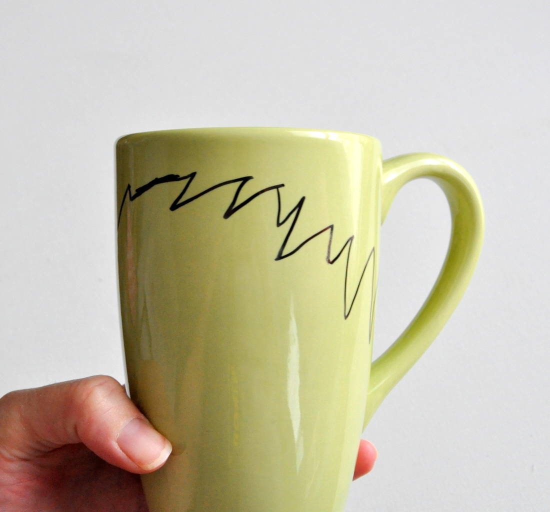Draw hair with Sharpie on mug madeinaday.com