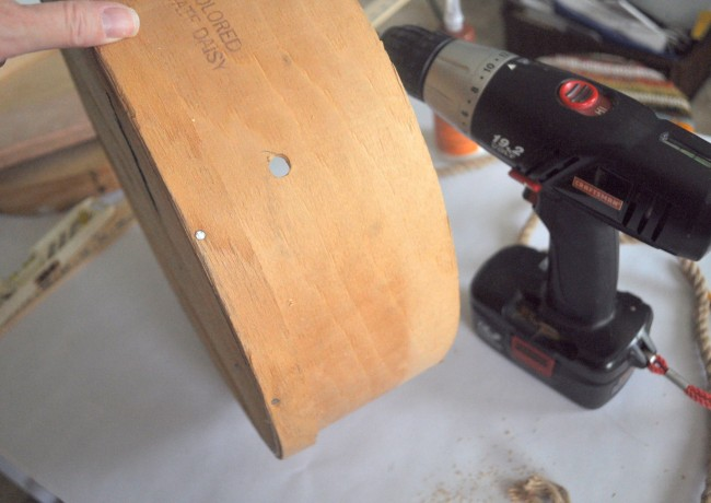 Drill hole in cheese box add rope