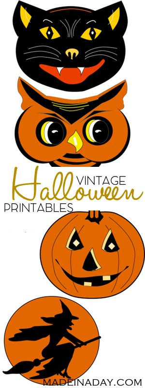 FREE Vintage Halloween Printable Garland, Print and cut out these super cool vintage Halloween characters for parties & garlands. vintage black cat, vintage pumpkin, vintage witch, vintage owl, orange, black garland, tutorial on madeinaday.com