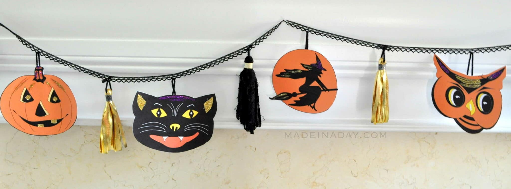 FREE Printable Vintage Halloween Pumpkin Cat Witch & Owl madeinaday.com