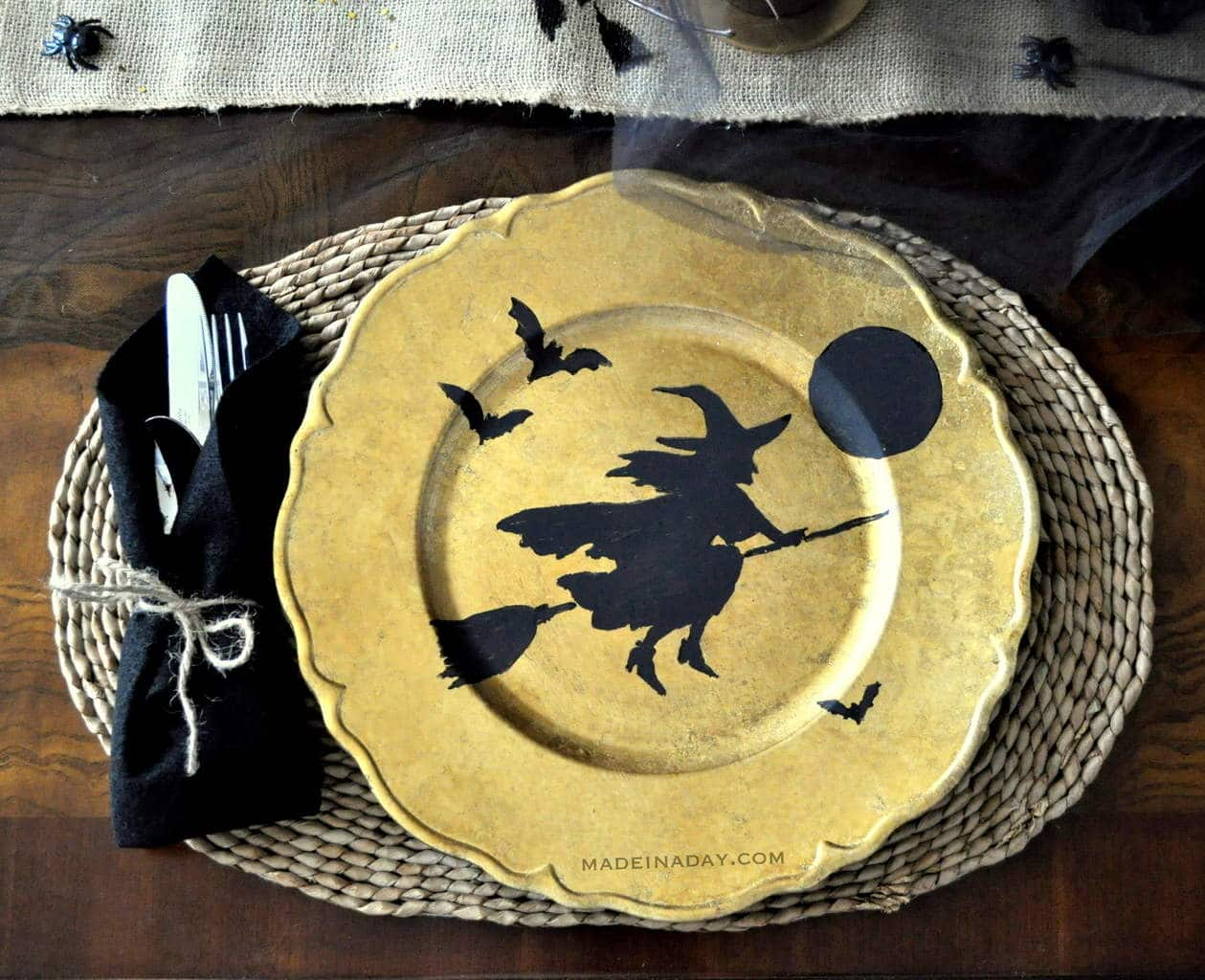Flying Broom Witch Halloween Plate Charger madeinaday.com