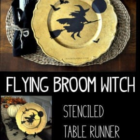 Flying Broom Witch Table Runner Plate Charger 1